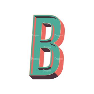 Vector Retro Alphabet Vector B Clip Art - SVG & PNG vector