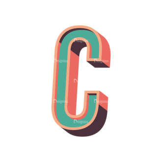 Vector Retro Alphabet Vector C Clip Art - SVG & PNG vector