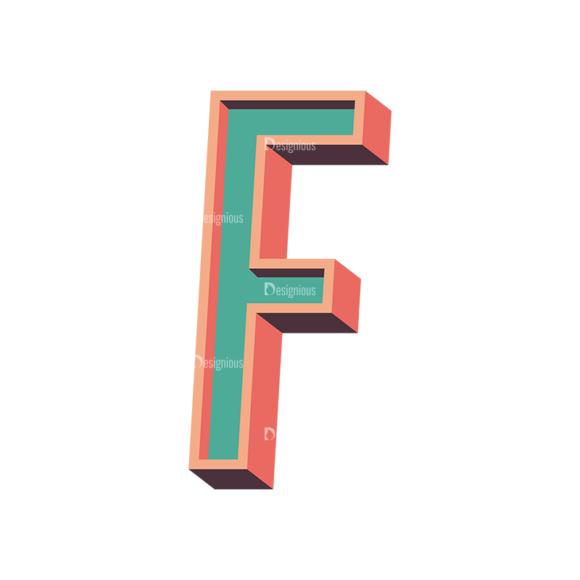 Vector Retro Alphabet Vector F Clip Art - SVG & PNG vector