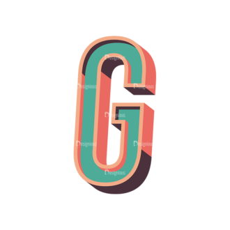 Vector Retro Alphabet Vector G Clip Art - SVG & PNG vector