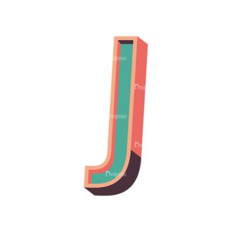 Vector Retro Alphabet Vector J Clip Art - SVG & PNG vector