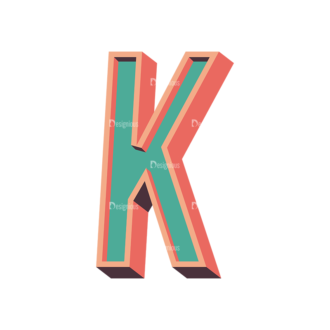 Vector Retro Alphabet Vector K Clip Art - SVG & PNG vector