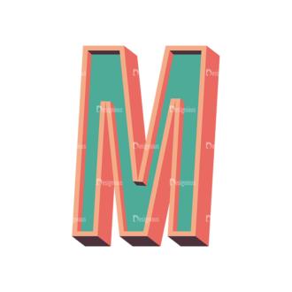 Vector Retro Alphabet Vector M Clip Art - SVG & PNG vector