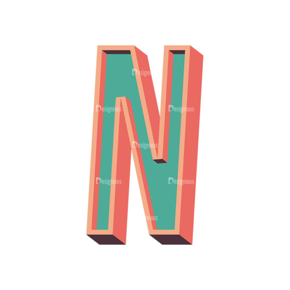 Vector Retro Alphabet Vector N Clip Art - SVG & PNG vector
