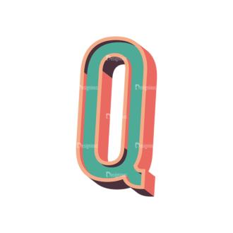Vector Retro Alphabet Vector Q Clip Art - SVG & PNG vector