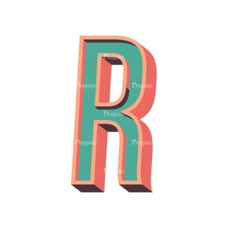 Vector Retro Alphabet Vector R Clip Art - SVG & PNG vector