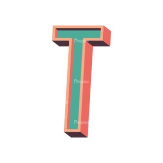 Vector Retro Alphabet Vector T Clip Art - SVG & PNG vector