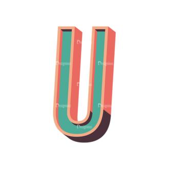 Vector Retro Alphabet Vector U Clip Art - SVG & PNG vector