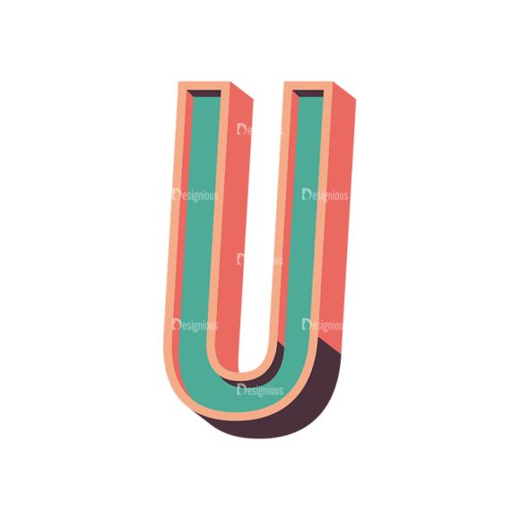 Vector Retro Alphabet Vector U vector retro alphabet vector U