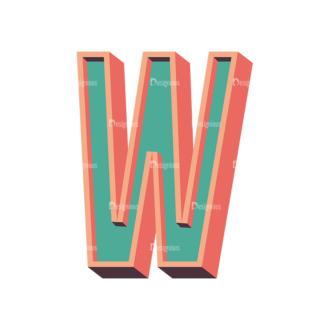 Vector Retro Alphabet Vector W Clip Art - SVG & PNG vector
