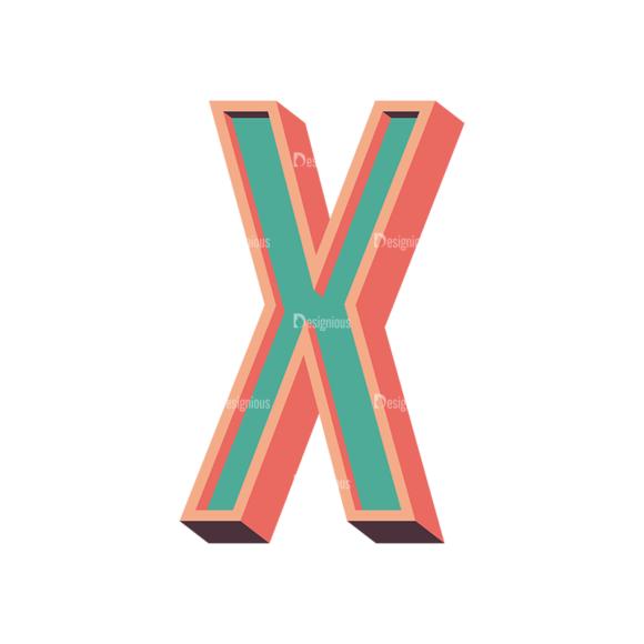 Vector Retro Alphabet Vector X Clip Art - SVG & PNG vector