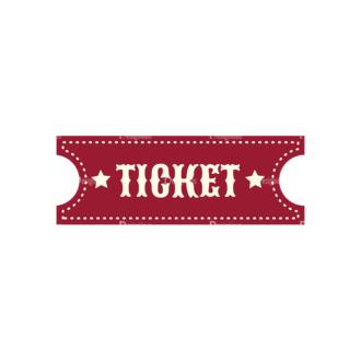 Vintage Carnival Vector Set 1 Vector Ticket 06 Clip Art - SVG & PNG vector