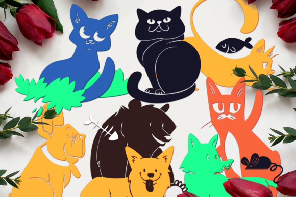 Cute Silhouettes Of Cats, Dogs and Fox and Bear