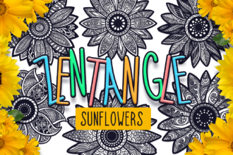 24 Zentangle Sunflowers SVG Cut Files Vector packs vector