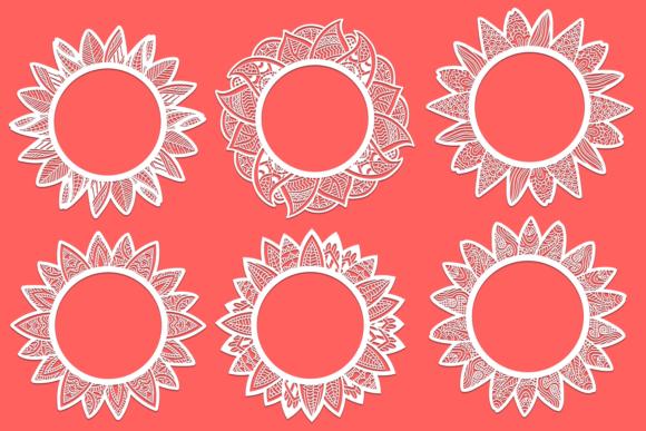 24 Zentangle Sunflowers SVG Cut Files Vector packs vector