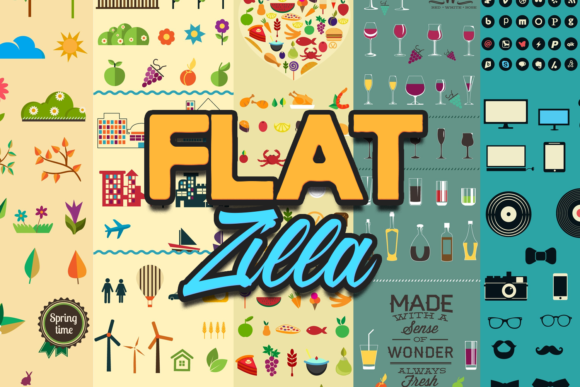 FlatZilla: Modern Vector Elements Bundle FlatZilla