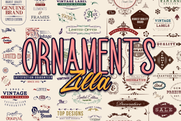 566 Super Premium Vintage Vector Elements with Editable Text Zilla - Super Premium Bundles floral