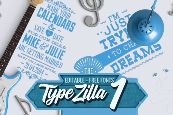 Typezilla 1: Super Premium Typography Set Typographic Templates vintage