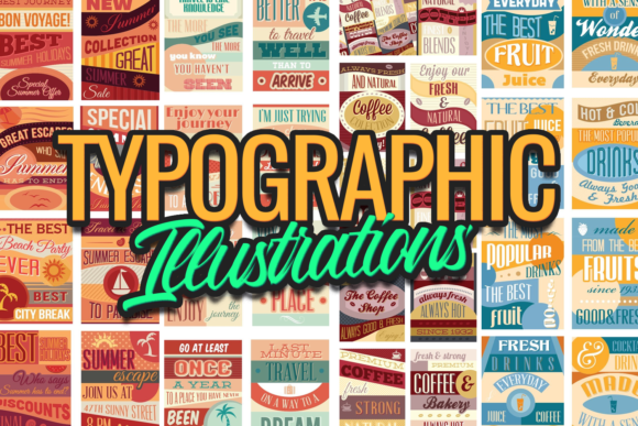 The Super Premium Typographic Illustrations Set typographic illustrations