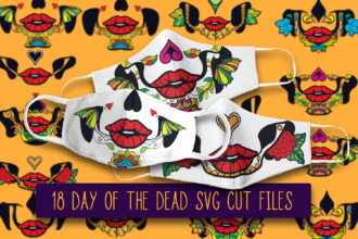 "18 ""Day of The Dead"" Calavera Face Mask Designs Vector packs vector"
