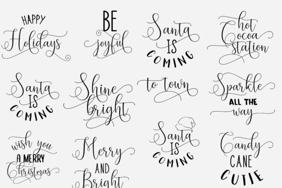 50x Christmas Quotes With Decorations Vector packs vector