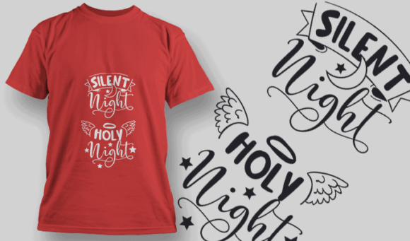 Silent Night Holy Night-T-Shirt-Typography-2151 T-shirt Designs and Templates vector