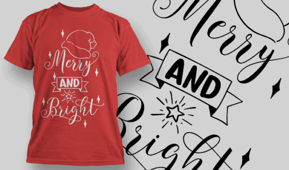 Merry And Bright-T-Shirt-Typography-2152 christmas typography 03 preview