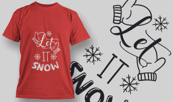 Let It Snow-T-Shirt-Typography-2157 christmas typography 08 preview