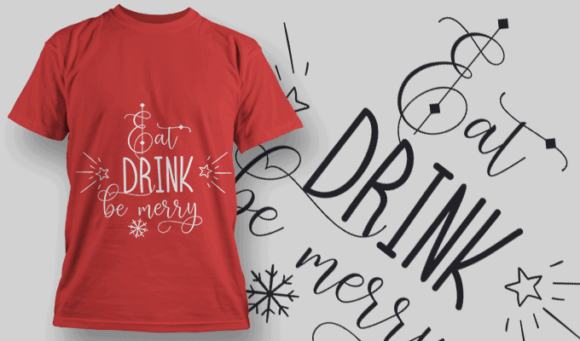 Eat Drink Be Merry-T-Shirt-Typography-2168 christmas typography 19 preview