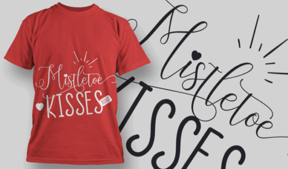 Mistletoe Kisses-T-Shirt-Typography-2170 christmas typography 21 preview