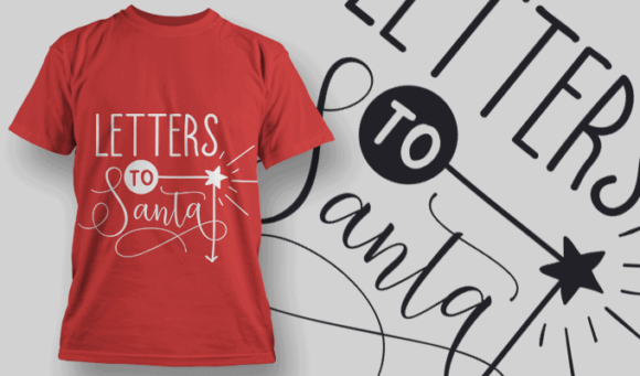 Letters To Santa-T-Shirt-Typography-2171 T-shirt Designs and Templates vector
