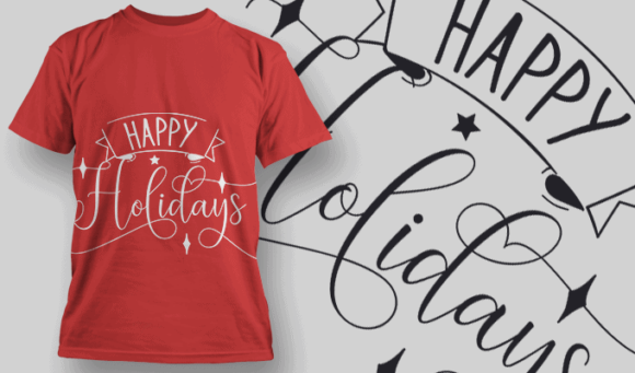 Happy Holidays-T-Shirt-Typography-2172 christmas typography 23 preview