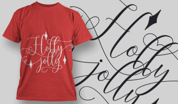 Holly Jolly-T-Shirt-Typography-2179 T-shirt Designs and Templates vector