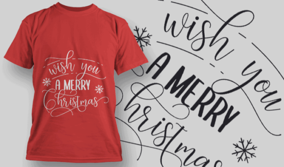 Wish You A Merry Christmas-T-Shirt-Typography-2180 christmas typography 31 preview