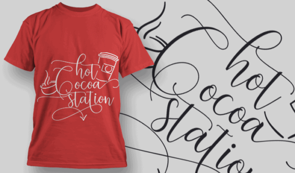 Hot Cocoa Station-T-Shirt-Typography-2184 T-shirt Designs and Templates vector