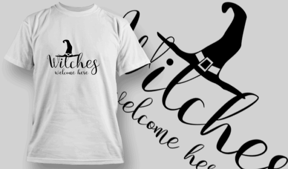 Witches Welcome Here-T-Shirt-Typography-2232 T-shirt Designs and Templates vector