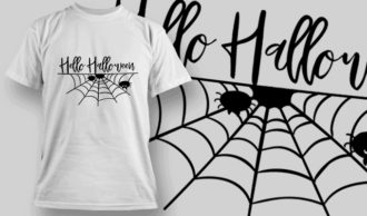 Hello Halloween-T-Shirt-Typography-2309 T-shirt Designs and Templates vector