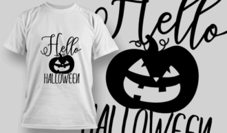 Hello Halloween-T-Shirt-Typography-2320 T-shirt Designs and Templates vector