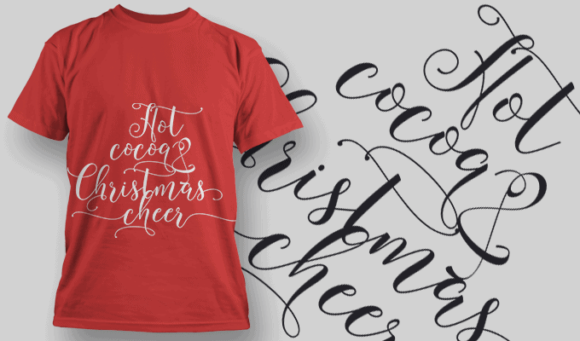 Hot Cocoa Christmas Cheer-T-Shirt-Typography-2203 xmas quotes pack 04 preview