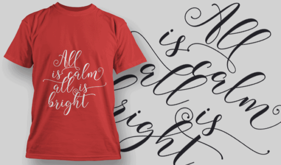 All Is Calm All Is Bright-T-Shirt-Typography-2207 xmas quotes pack 08 preview