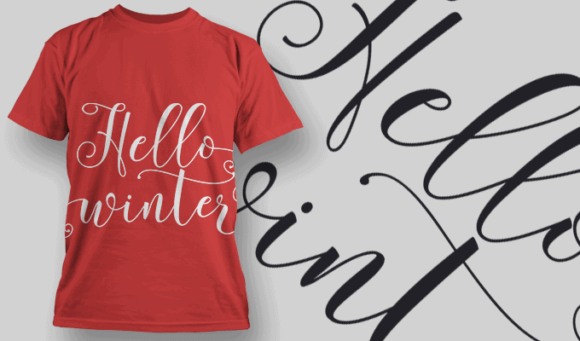 Hello Winter-T-Shirt-Typography-2210 T-shirt Designs and Templates vector