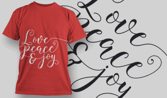 Love Peace And Joy-T-Shirt-Typography-2213 T-shirt Designs and Templates vector