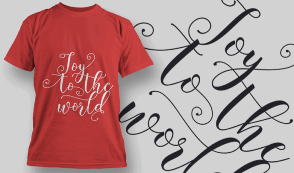 Joy To The World-T-Shirt-Typography-2216 T-shirt Designs and Templates vector