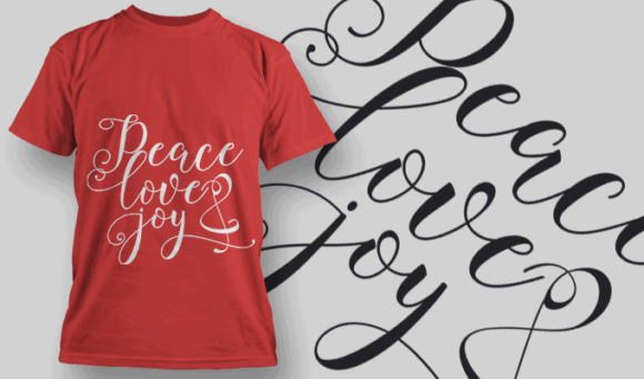 Peace Love Joy-T-Shirt-Typography-2227 xmas quotes pack 28 preview