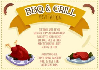 Bbq Vector Invitation Template Vector Illustrations vector