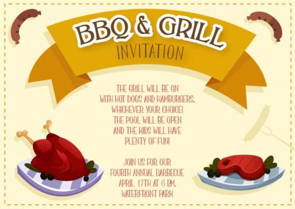 Bbq Vector Invitation Template BBQ 02