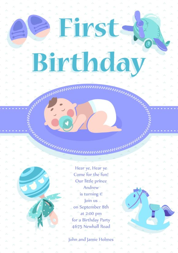 Baby First Year Vector Invitation Template Vector Illustrations vector