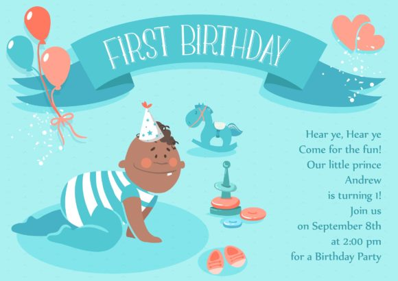 Baby First Year Vector Invitation Template Baby first year 02