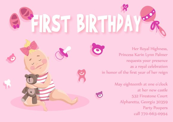 Baby First Year Vector Invitation Template Baby first year 03
