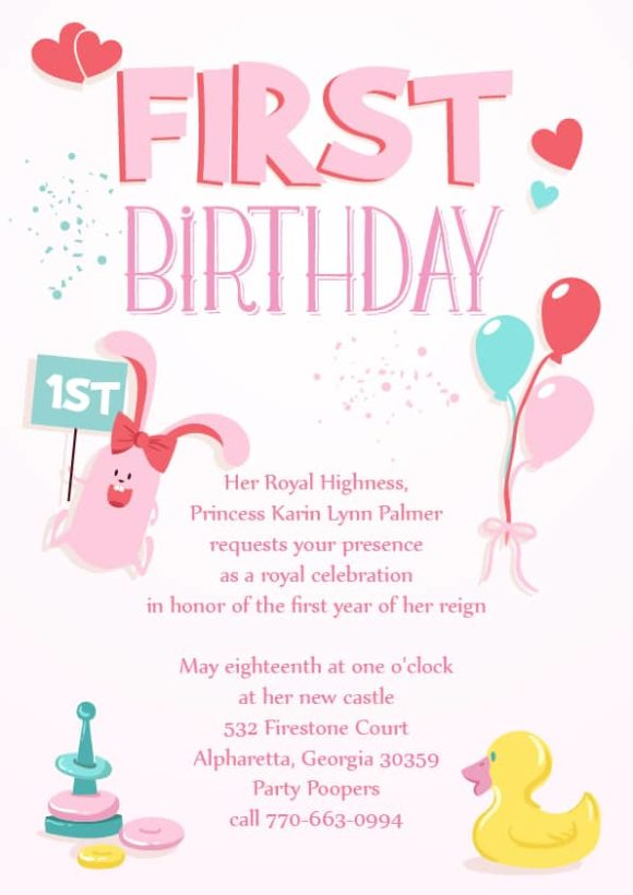 Baby First Year Vector Invitation Template Baby first year 04